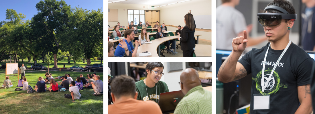 A photo collage showing a student working at a computer, students in a classroom, a math class being taught outside, and a student using a virtual reality headset.